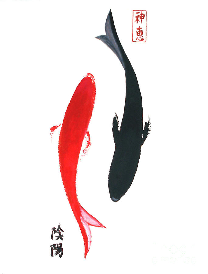 Fish Painting - Yin And Yang by Sibby S