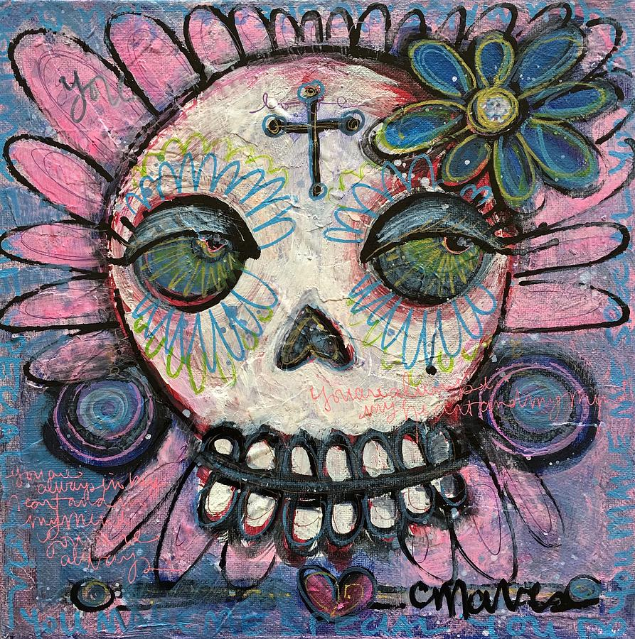 Skull Painting - You Are Always In My Heart by Laurie Maves ART