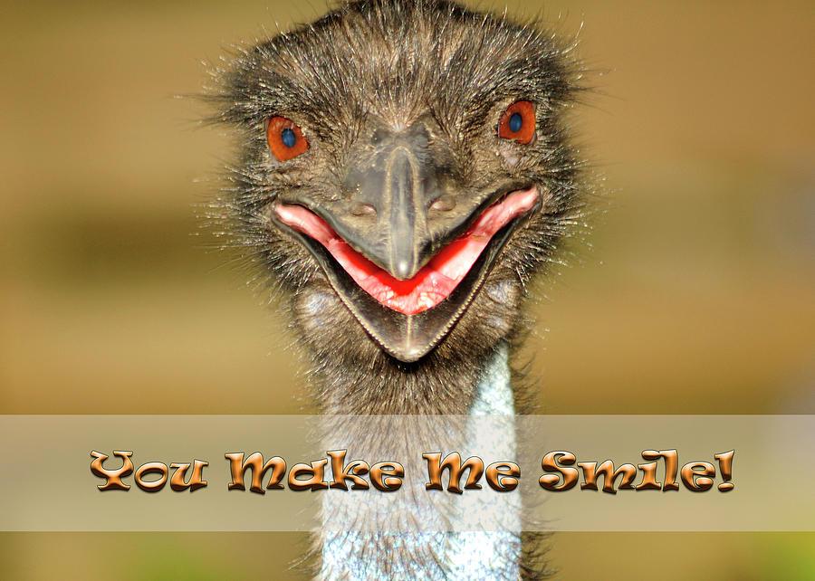 Emu Photograph - You Make Me Smile by Carolyn Marshall