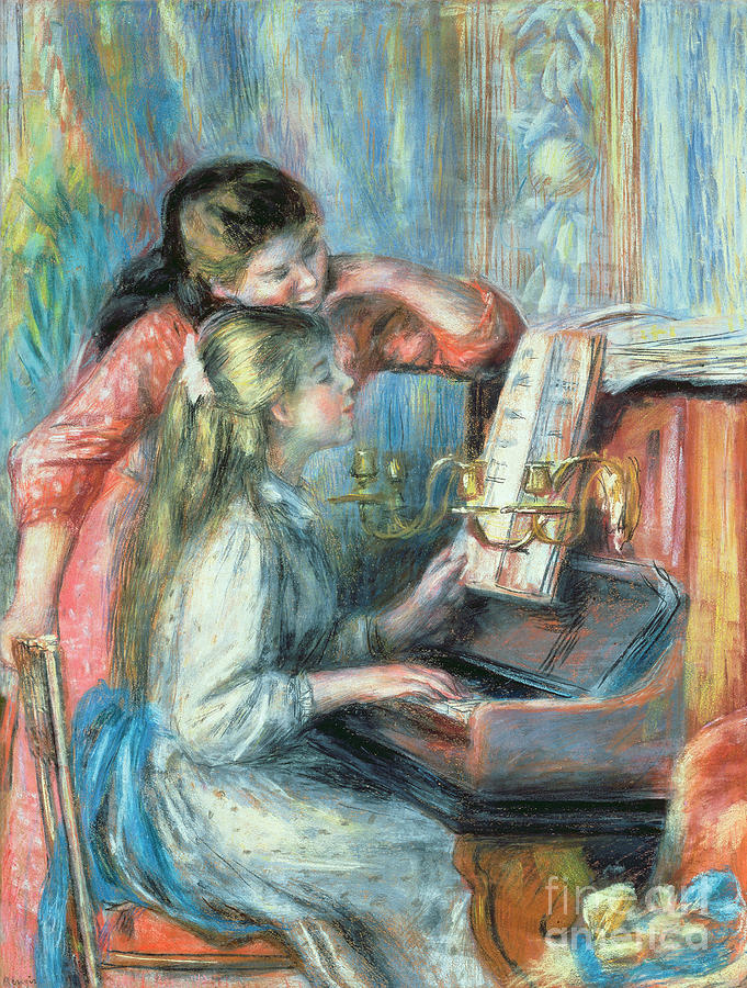Pierre Auguste Renoir Painting - Young Girls At The Piano by Pierre Auguste Renoir