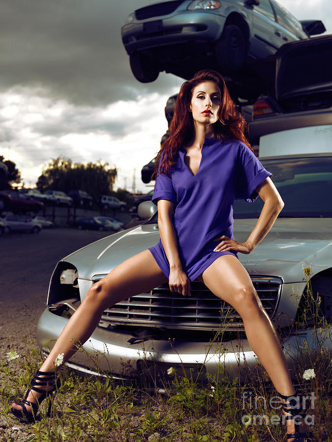 Young Woman Sitting On A Crashed Car Photograph By Maxim Images Prints-9290