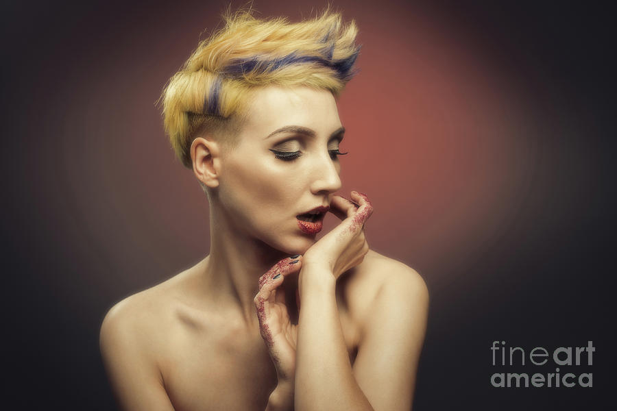 Make Up Photograph - Young Woman With Glittered Fingers And Lips by Amanda Elwell