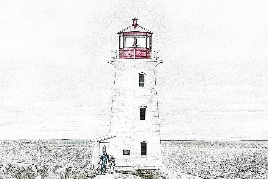 Lighthouse Mixed Media - Youre My Beacon Peggys Cove Lighthouse by Betsy Knapp