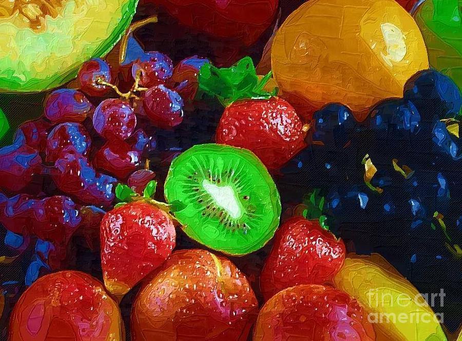 Fruit Painting - Yummy Fresh Fruit by Deborah Selib-Haig DMacq