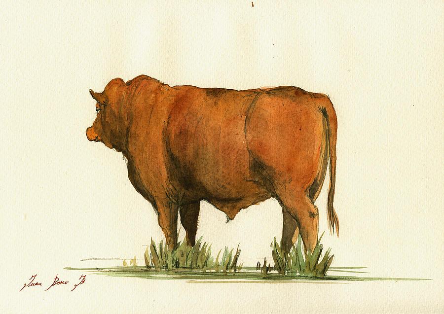 Zebu Painting - Zebu Cattle Art Painting by Juan  Bosco