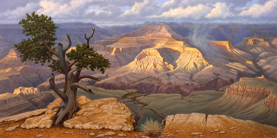 South Rim Painting - Zoroaster Temple From Yaki Point by Paul Krapf