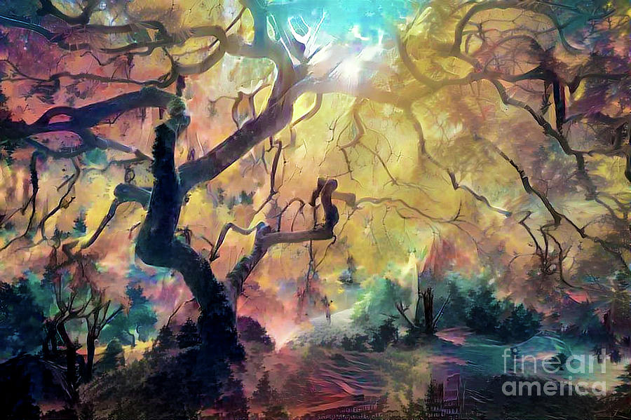 Abstract Digital Art - 10 Abstract Japanese Maple Tree by Amy Cicconi
