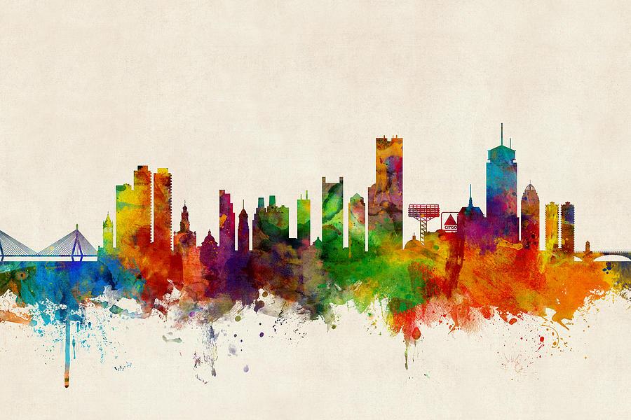 United States Digital Art - Boston Massachusetts Skyline by Michael Tompsett