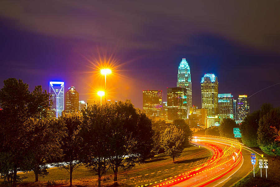 Carolinas Photograph - Downtown Of Charlotte  North Carolina Skyline by Alex Grichenko