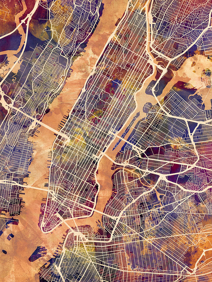 New York Digital Art - New York City Street Map by Michael Tompsett