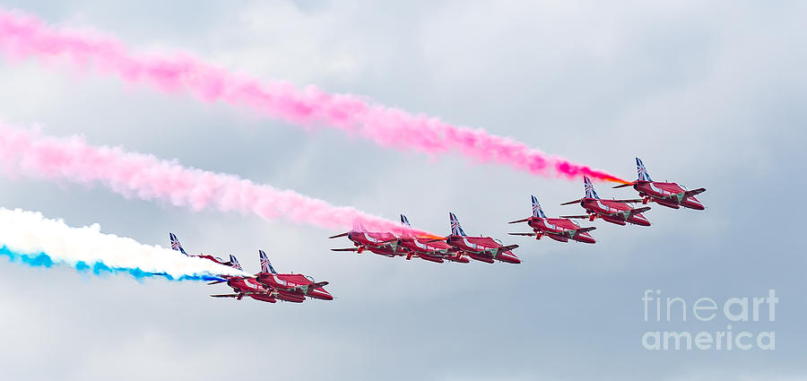 Balloon Fiesta Photograph - Red Arrows display by Colin Rayner