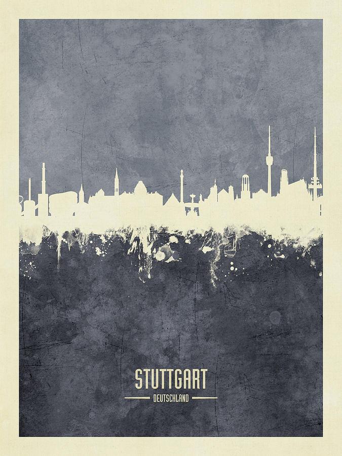 Stuttgart Digital Art - Stuttgart Germany Skyline 10 by Michael Tompsett