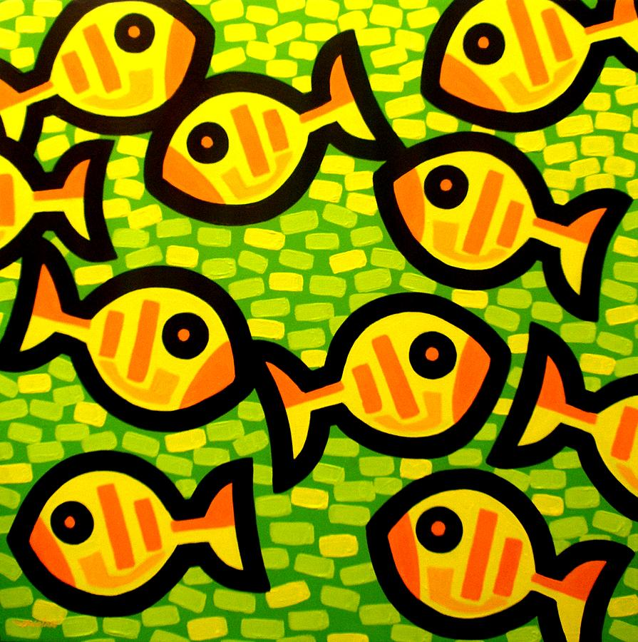 Fish Painting - 10 Yellow Fish by John  Nolan