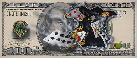 Money Painting - 100 Bill Full House by Michael Godard