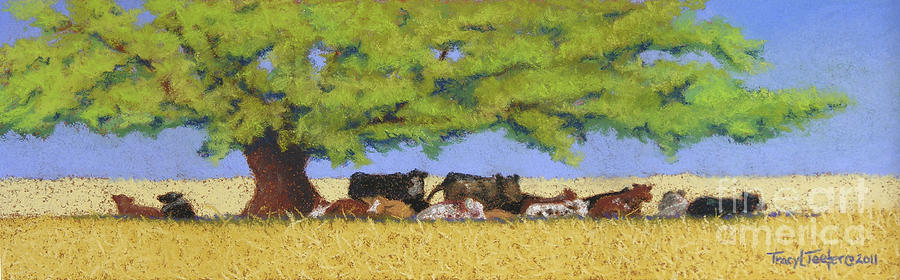 Cows Pastel - 100 Degrees Plus by Tracy L Teeter