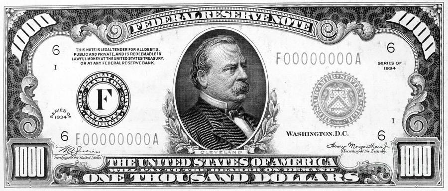 1 000 Dollar Bill Photograph By Granger