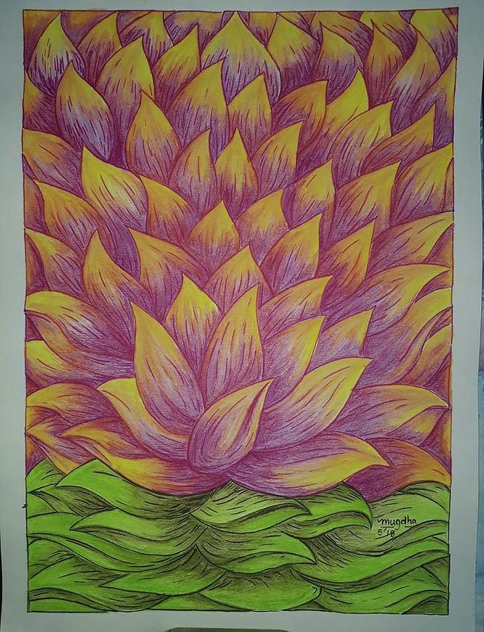 1000 Petal Lotus Painting By Mugdha Kakade