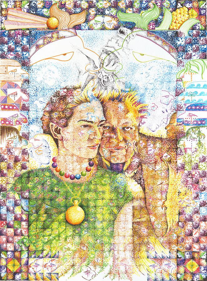Frida Kahlo Drawing - 10000 Caras Son Uno by Doug Johnson