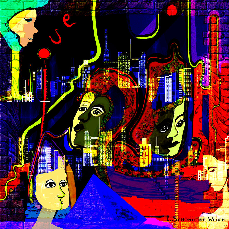 Mysterious Painting - 103 -   Psychedelic City Night .. by Irmgard Schoendorf Welch