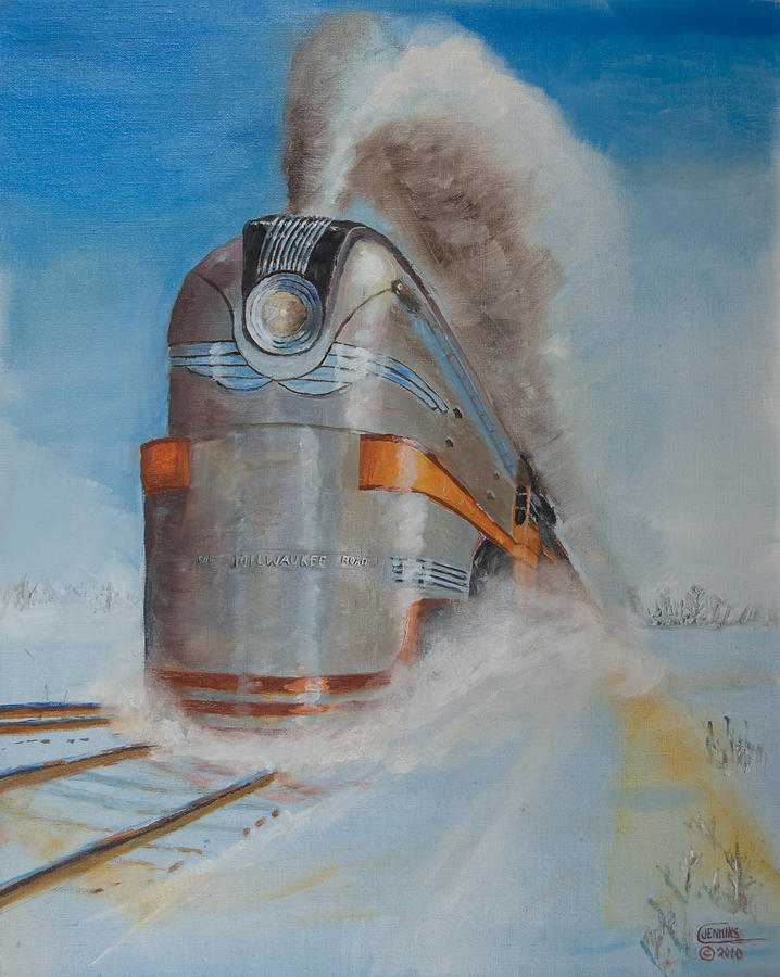 Locomotive Painting - 104 Mph In The Snow by Christopher Jenkins