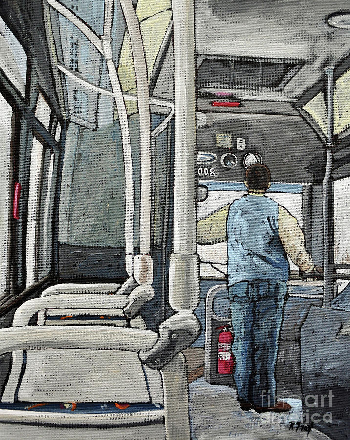 Buses Painting - 107 Bus On A Rainy Day by Reb Frost