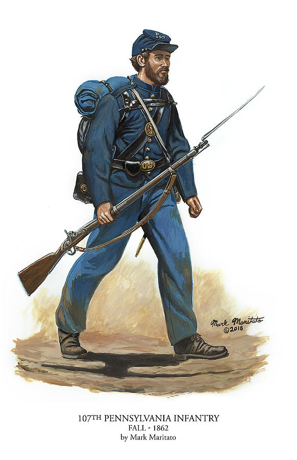 Mark Painting - 107th Pennsylvania Infantry Regiment - Fall Of 1862 by Mark Maritato