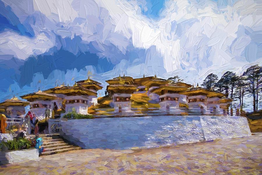 Bhutan Digital Art - 108 Stupas by Pravine Chester
