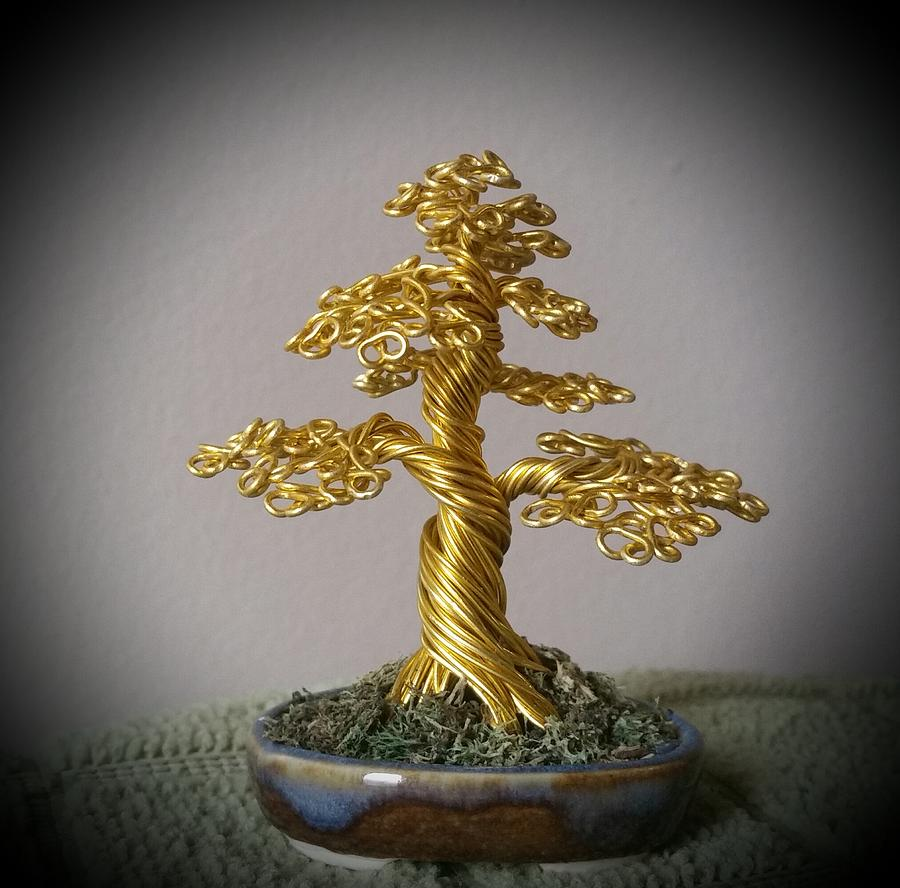 Bonsai Art For Living Room: #109 Mini Golden Bonsai Tree Wire Sculpture Photograph By