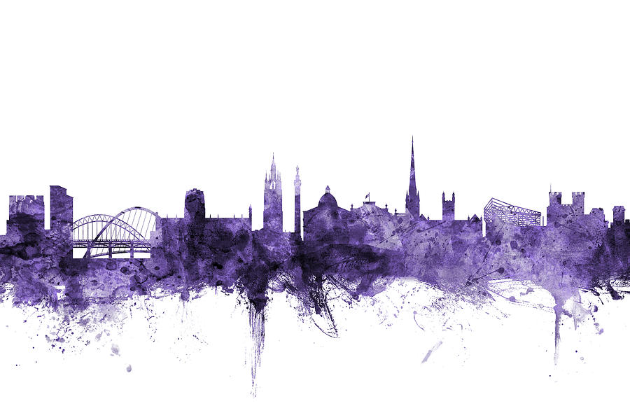 City Digital Art - Newcastle England Skyline by Michael Tompsett