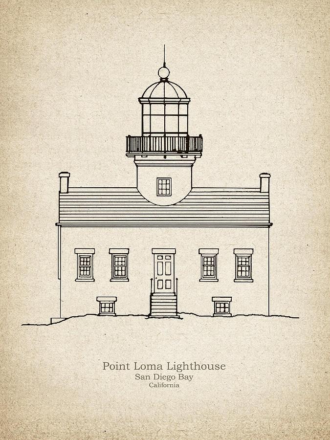 Old point loma lighthouse california blueprint drawing drawing old point loma drawing old point loma lighthouse california blueprint drawing by jose malvernweather Choice Image
