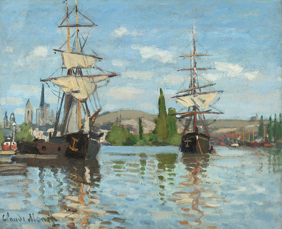Ships Painting - Ships Riding On The Seine At Rouen by Claude Monet