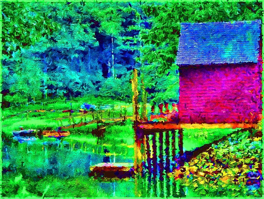 Boathouse Painting - 11052008a  Boat House On The Inlet by Ed Immar