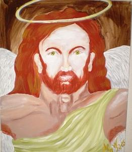 Angel Painting - Green-eyed Angel       Original by Christine Ward