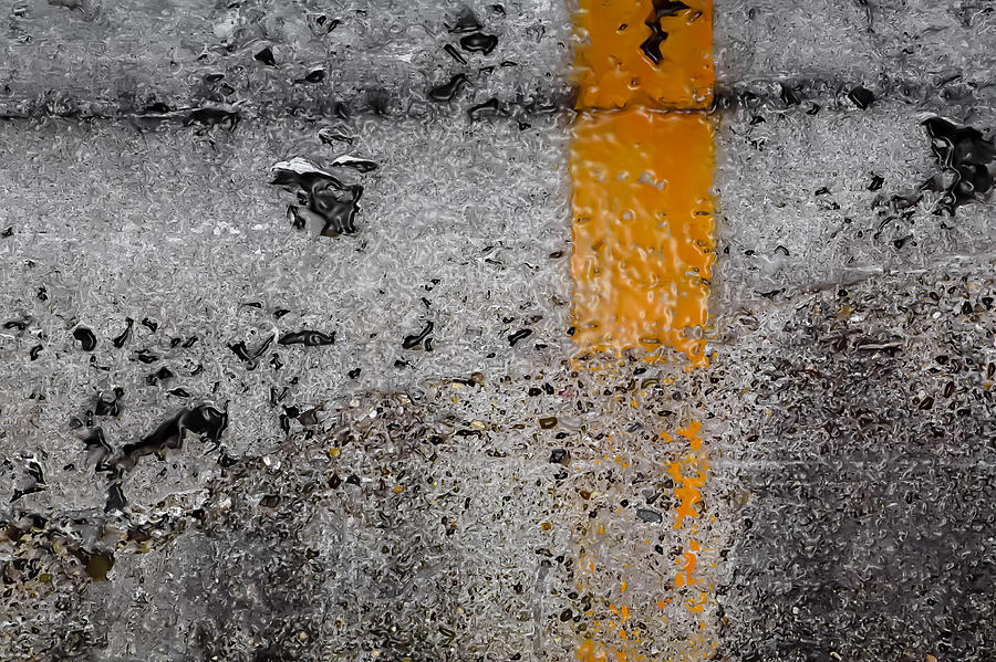 Gray Wall And Orange Strip Digital Art