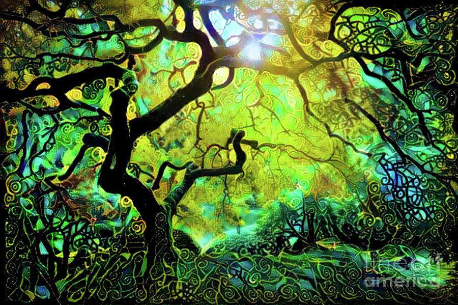 Abstract Digital Art - 12 Abstract Japanese Maple Tree by Amy Cicconi