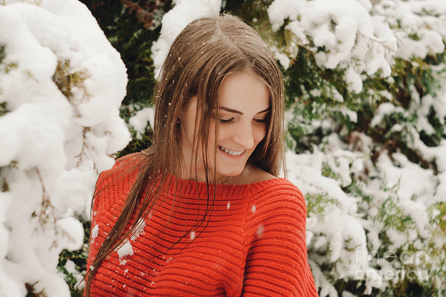 Women Photograph - Beautiful Young Girl Model In Winter In A Parked Park. In A Red Sweater. by Oleksandr Masnyi