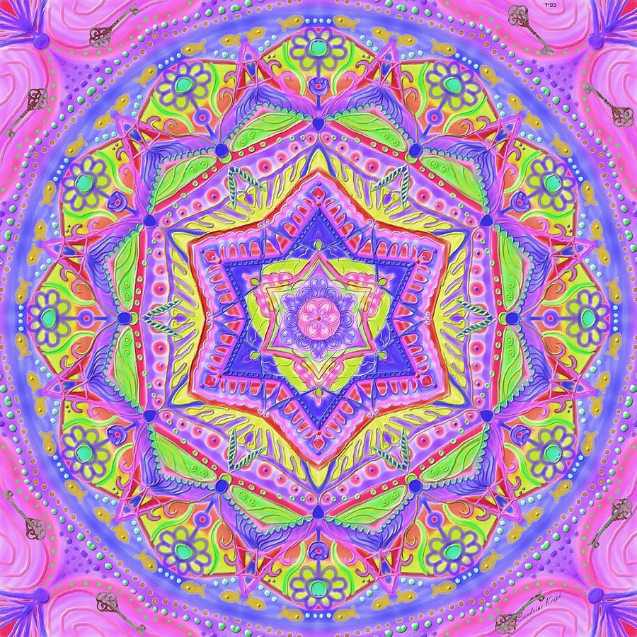 Birth Digital Art - Birth Mandala- Blessing Symbols by Sandrine Kespi