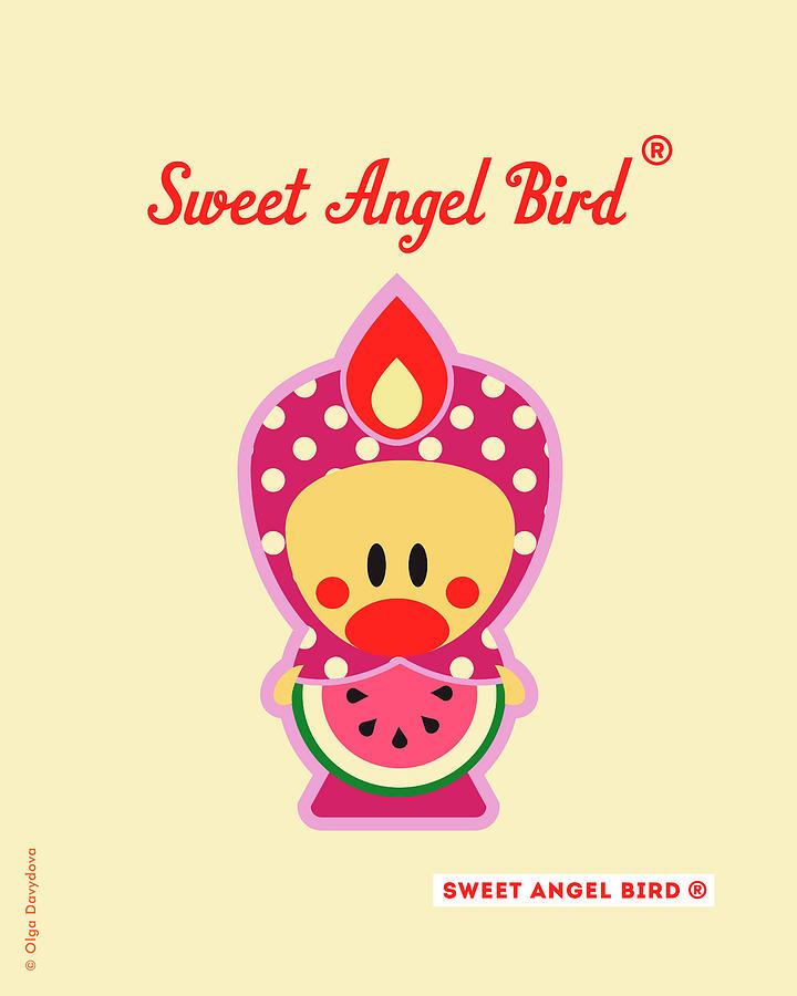Bird Digital Art - Cute Art - Sweet Angel Bird Watermelon Fruit Matryoshka Costume Wall Art Print by Olga Davydova