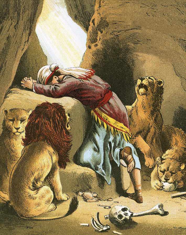 praying painting daniel in the lions den by english school