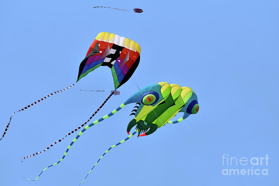 Artistic Photograph - Kites Flying During Kite Festival by George Atsametakis