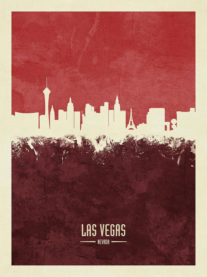 Las Vegas Digital Art - Las Vegas Nevada Skyline 12 by Michael Tompsett