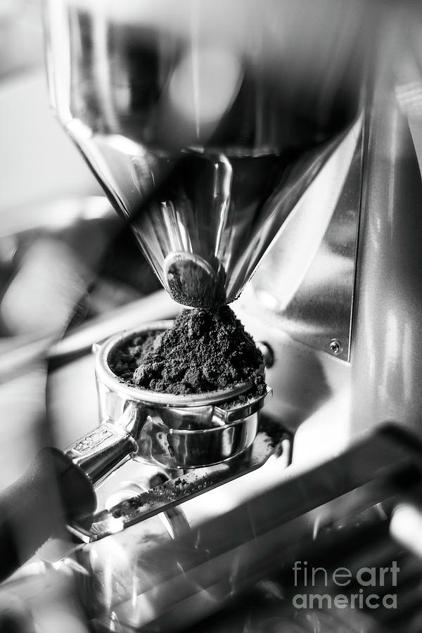 Making Espresso Coffee Close Up Detail With Modern Machine Photograph