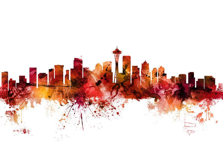 United States Digital Art - Seattle Washington Skyline by Michael Tompsett
