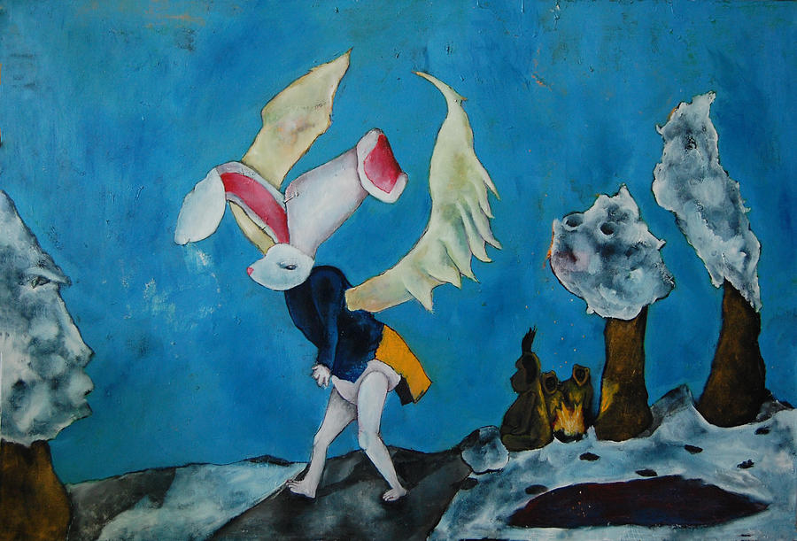 Bunny Painting - Untitled 12 by Abigail Lee Goldberger