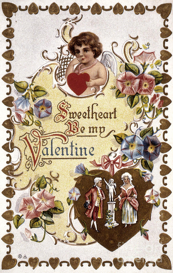 1910 Photograph - Valentines Day Card by Granger