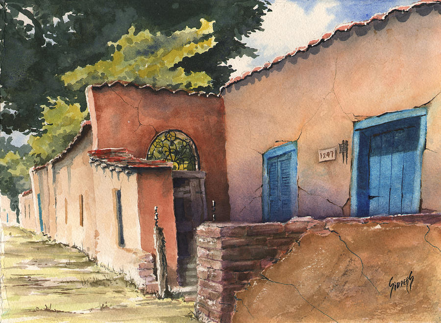 Adobe Painting - 1247 Agua Fria Street by Sam Sidders