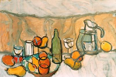 Jar Painting - 12fruitsandglasses by Juan Luis Quintana