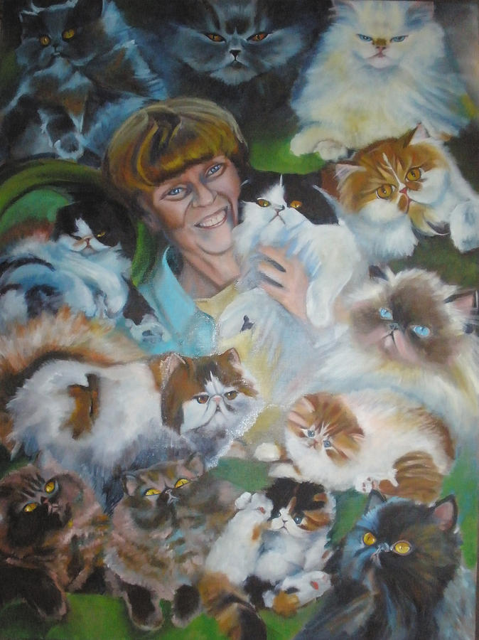 Animal Painting - 13 Cats by Kaytee Esser