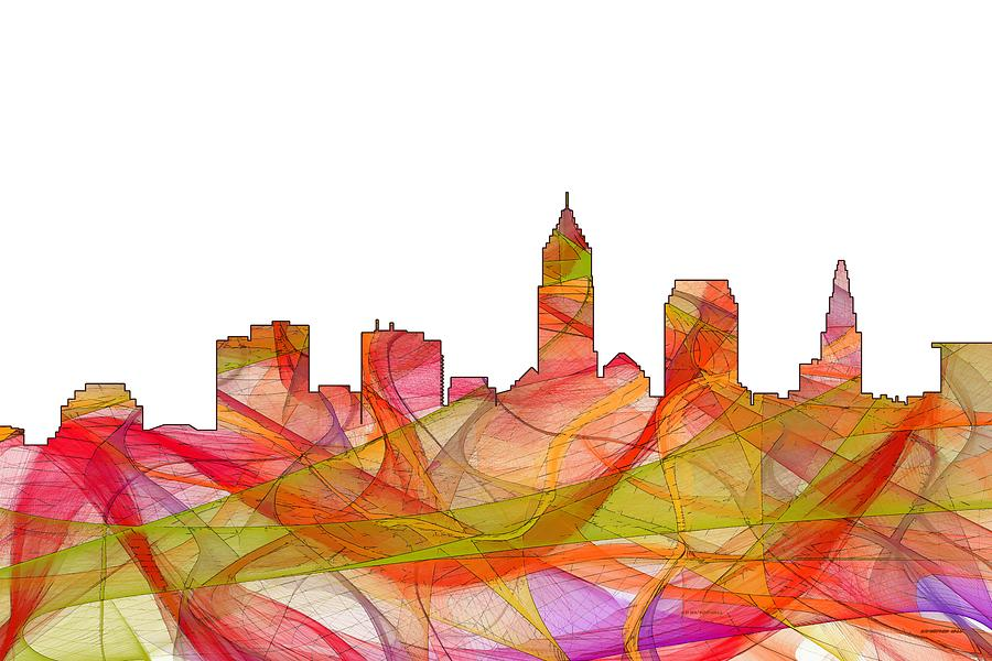 Landscape Digital Art - Cleveland Ohio Skyline by Marlene Watson