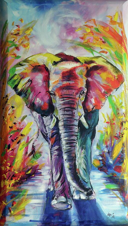 Elephant painting by kovacs anna brigitta for Easy acrylic animal paintings